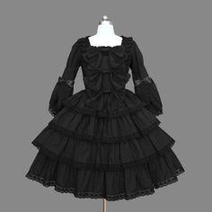 Black Layered Lace Cotton Gothic Lolita Dress