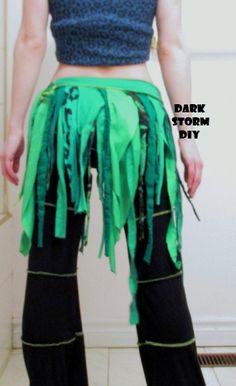 Green Tattered Fairy Wrap Skirt DIY Pixie Hippie by DarkStormDIY, $40.00
