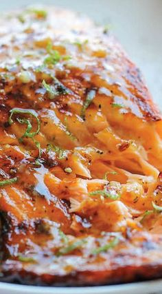 Honey Glazed Salmon - The easiest, most flavorful salmon you will ever make. And that browned butter lime sauce is to die for! Fish Recipes, Seafood Recipes, Great Recipes, Dinner Recipes, Cooking Recipes, Favorite Recipes, Healthy Recipes, Salmon Dishes, Fish Dishes
