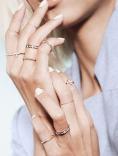 Stacked rings look gorgeous with any manicure. #dainty #jewelry #stacked #gold