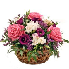 Scented Basket Arrangement dia Beautiful basket of roses, freesia, lisianthus, limonium and foliage. Available in Lilac, Yellow and white. Basket Flower Arrangements, Silk Arrangements, Small Flowers, Beautiful Flowers, Corporate Flowers, Flowers Online, Flower Basket, Floral Bouquets, Flower Decorations