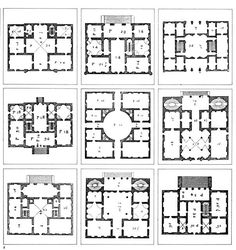 Brunner Sanina - Architect - Andrea Palladio - Comparisons of different arrangements of villas, according to principles of proportion and beauty Architecture Classique, Classic Architecture, Architecture Drawings, Historical Architecture, Architecture Design, Andrea Palladio, Villa Plan, House Plans And More, Plan Drawing
