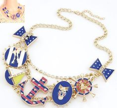 Min order $10(Mix order)Exaggerated metal anchors temperament wild crocodile Skeleton bow short necklace   fashion jewelry $6.22