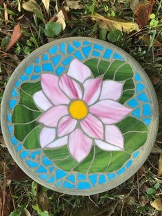 Peaceful Blossom - Lotus on Lily Pad Mosaic Stepping Stone -Handmade Stained Glass & Round-Avail in larger or smaller sizes Mosaic Flower Pots, Mosaic Pots, Pebble Mosaic, Mosaic Wall Art, Mosaic Glass, Mosaic Tables, Stone Mosaic, Stained Glass Designs, Mosaic Designs