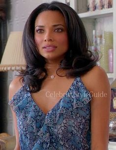 Mistresses Fashion: Rochelle Aytes as April Malloy, wore a blue ruffle front Dress on ABC Mistresses Pilot episode   Outfit ID's Found At #CelebrityStyleGuide