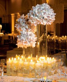 Stunning White Orchids and Candlelight Reception Tablescape + Centerpiece