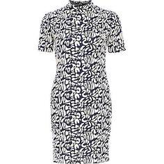 Navy animal print bodycon dress £30.00
