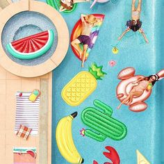 Pool float party inspiration! Love all these Sunny Life inflatable pool floats including a rose gold flamingo, banana, pineapple, cactus, rainbow, watermelon, lobster and many more!