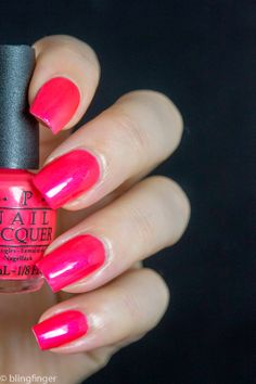 OPI Down to the Core-al. http://www.blingfinger.net/2014/05/opi-neon-collection-2014-swatches-and.html