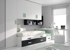 Kids Touch 42 Bloc: Dormitorio juvenil Juvenil Camas Compactas y Nidos Bloc compuesto de cama compacta con cama cajones, escritorio, estantería, puente y armario.