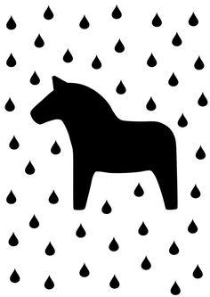 Bilder - Dala Pferd Print in schwarz weiß - ein Designerstück von nanamiadesign bei DaWanda