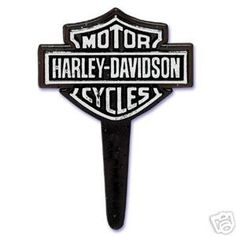 HarleyDavidson cupcake pick or cake topper Harley logo silver on