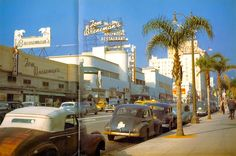 """From 1947, here we have a glorious color photo of Vine Street, Hollywood, looking north toward Hollywood Boulevard. Most prominently, we can see the Tom Breneman's Hollywood Restaurant, which became famous when Breneman started hosting his """"Breakfast in Hollywood"""" radio show which aired from 1941 to 1948 on the Blue Network, which would morph into the ABC after the war."""
