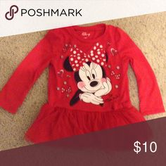 Disney Minnie Mouse 2T dress Sweet Minnie Mouse dress. Long sleeve. Tulle over cotton on bottom. Disney Dresses Casual