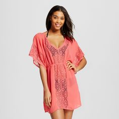 7657c712a39c Women s Crochet Panel Cover Up Dress - Xhilaration Coral (Pink) XL
