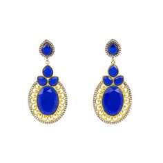 Golden Round Earrings with Blue Stones Round Earrings, Drop Earrings, Blue Stones, Sparkle, Unique, Color, Beauty, Jewelry, Fashion