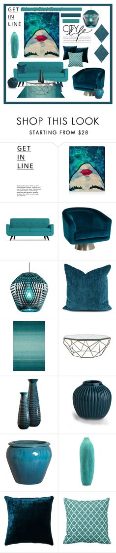 """""""Blue & Teal"""" by cldesign ❤ liked on Polyvore featuring interior, interiors, interior design, home, home decor, interior decorating, Lipsy, Oliver Gal Artist Co., Jonathan Adler and LBL Lighting"""