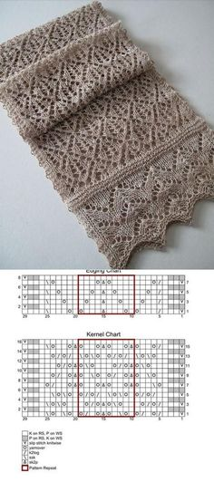 Patterns openwork stole with mohair knitting needles. knitting pattern for stole Lace Knitting Patterns, Knitting Blogs, Knitting Charts, Lace Patterns, Knitting Stitches, Knitting Needles, Knitting Projects, Stitch Patterns, Sewing Basics