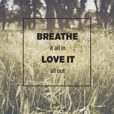 Breathe it all in LOVE IT all out.