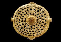 Akan goldweight | Baule breastplate with open worked decoration solid casting