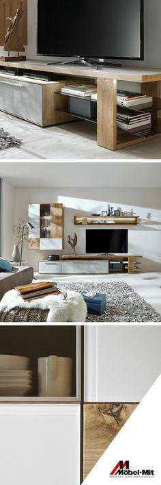 Diese schicke Wohnwand von Wöstmann besticht durch ihr modernes lockeres Design aus edler Wildeiche. Entdecke auch für dein Wohnzimmer das perfekte Möbelstück. - Möbel Mit www.moebelmit.de