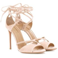 Aquazzura Nathalie 105 Suede Sandals ($655) ❤ liked on Polyvore featuring shoes, sandals, pink, aquazzura shoes, high heeled footwear, pink suede sandals, aquazzura sandals and suede sandals