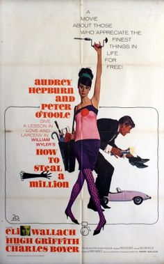 How to Steal a Million Audrey Hepburn Gregory Peck, 1966 - original vintage movie poster by Robert E. McGinnis for the film starring Audrey Hepburn and Peter O'Toole, listed on AntikBar.co.uk