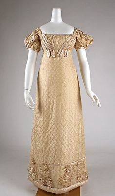 British silk dress circa 1822 (late, yes; but very close to Regency style and it's great!) from the Metropolitan Museum of Art.