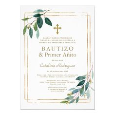 Shop Eucalyptus Leaves Spanish Birthday Baptism Invitation created by Personalize it with photos & text or purchase as is! Baptism Invitation For Boys, Christening Invitations, 1st Birthday Invitations, Party Invitations, Invite, Baptism Cards, Baby Girl Baptism, Girl First Birthday, Rustic Invitations
