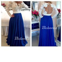 Blue / Ivory Long Sleeves Prom Dress With Lace Bodice And Sheer Back