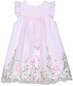 Amazon.com: Laura Ashley London Baby Girls Flutter Sleeve Dress with Embroidered Boarder, Pink Flower Vine, 24M: Clothing