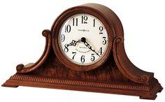 Oak Mantel Clock w/ Carved Side Scrolls