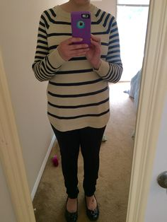 This Birchcrest Side Slit Sweater looks decent. I was unsure if I was going to keep this one or not. (Honestly, I was pretty ambivalent about all the tops.) I don't know that it does anything for me/my figure, but it doesn't necessarily take away from my look, either. The varied stripe pattern on the sleeves looks nice. It's really the side detail that makes this sweater interesting.