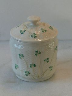 Irish Belleek biscuit cookie jar