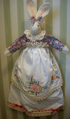 bunny with vintage hankie skirt