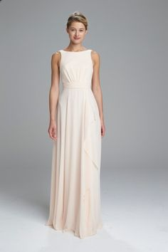 """Rory"" - High neckline bridesmaids dress with deep v back and cascading skirt detail shown in Bellini"