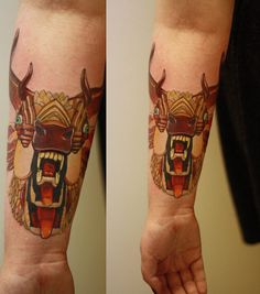 "AJ Fosik's design for Mastodon's album ""The Hunter"". Done by Jim Gray at Rock N Roll Tattoo, Glasgow.There was no special reason behind this tattoo. I love AJ Fosik's work and I love Mastodon so it made sense to me to get it."