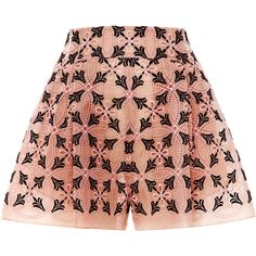 DELPOZO Eyelet Pleated Front Short (9.550 BRL) ❤ liked on Polyvore featuring shorts, bottoms, skirts, delpozo, pink, eyelet shorts, embroidered shorts, pleated shorts, pink short shorts and see through shorts