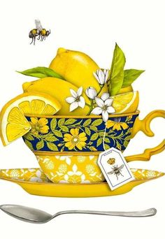 The true workhorse of any kitchen; the flour sack dish towel. Designed by Mary Lake Thompson, featuring a cheerful lemony tea cup! Dish Towels, Tea Towels, Tee Kunst, Tea Art, Kitchen Art, Mellow Yellow, High Tea, Fruit Print, Food Art