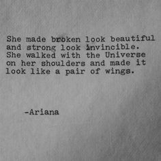 She Made Broken Look Beautiful * Your Daily Brain Vitamin * Motivation * Inspiration * Quote * Quotes * Quote of the Day * QOTD * Wisdom * Life Quotes * Love Quotes * Friendship Quotes * Quotes to Live By * TITILHC The Words, R M Drake, Great Quotes, Inspirational Quotes, Quotes Quotes, Wing Quotes, Motivational Quotes, Quotes Images, In Love With You Quotes