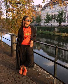 KENZO x H&M #outfit #ootd #kenzo #kenzoxhm #orange #black #sneakers #flyknit #flyknitracer #nike