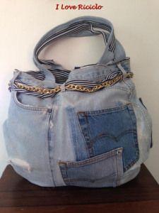 borsa mare jeans con catena