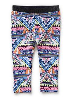 95% Cotton / 5% Elastane legging with all over aztec print and elasticated lurex waistband