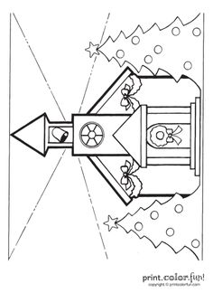 coloring page christmas church - Google Search
