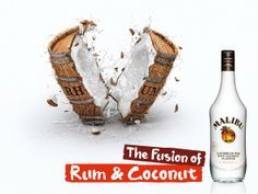 Malibu: Barrel, 1 The fusion of rum & coconut. Advertising Agency: Marcel, Paris, France