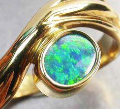 BOULDER OPAL RING SIZE 5 1/2     18 K  GOLD   CK 202  opal jewellery
