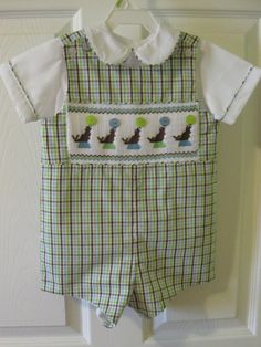 Boys smocked Jon Jon  Shirt with Peter Pan collar by AmyCatherines
