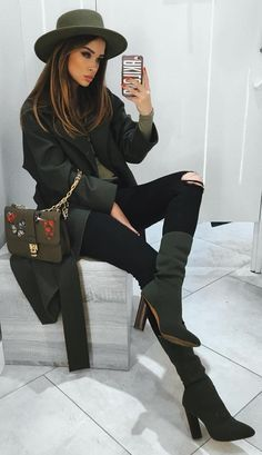 #winter #fashion / Green Hat & Booties + Black Jacket & Destroyed Denim Jeans
