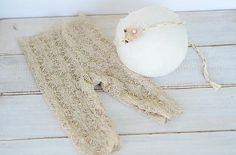 Beige Lace Newborn Pants and Tieback Set - Choose Your Pieces.