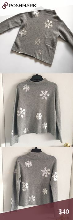 """The Limited High-Neck Silver Snowflake Sweater Adorable The Limited heather grey and silver snowflake sweater. 40% viscose. 30% nylon. 20% cotton. 5% angora rabbit hair. 5% cashmere. Measurements laying flat (approx): *20""""in pit to pit *23""""in length *24""""in sleeve length The Limited Sweaters"""